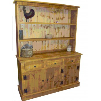 Rough Sawn Plate Rack Dresser
