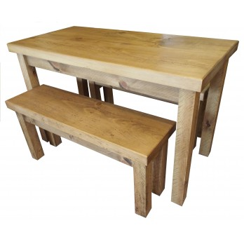 Rough Sawn Table and Bench Set