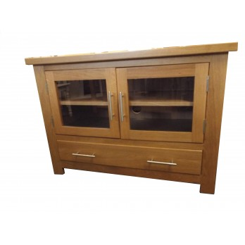 Oak TV Unit with Glass Doors