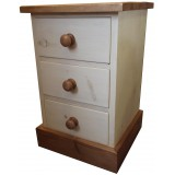 Rough Sawn 3 Drawer Bedside (Painted)