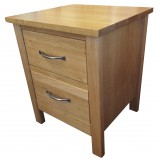 SJ Oak 2 Drawer Bedside