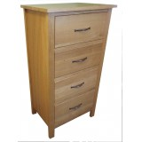SJ Oak 4 Drawer Wellington Chest