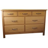 SJ Oak 7 Drawer Wide Chest