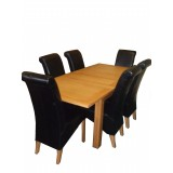 Oak Extending Table and 6 Leather Chairs Set Offer