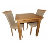 SJ Oak Table and 2 Rattan Chairs Offer