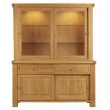 Bretagne Oak Sliding Door Glazed Dresser