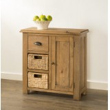 Hartley Solid Oak Compact Sideboard with Baskets