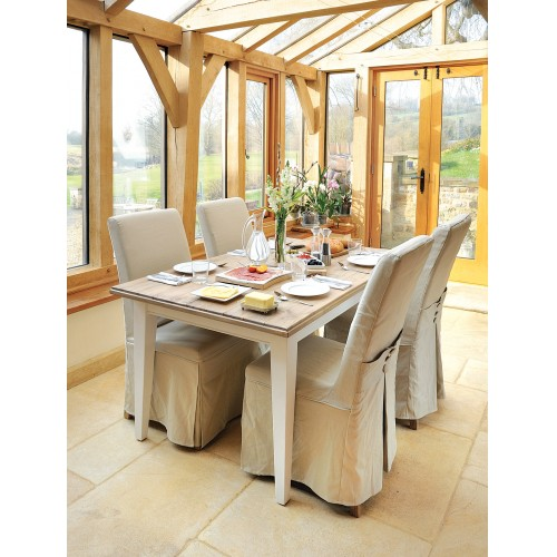 Timeless Fixed Top Table And Striped Loose Cover Chairs