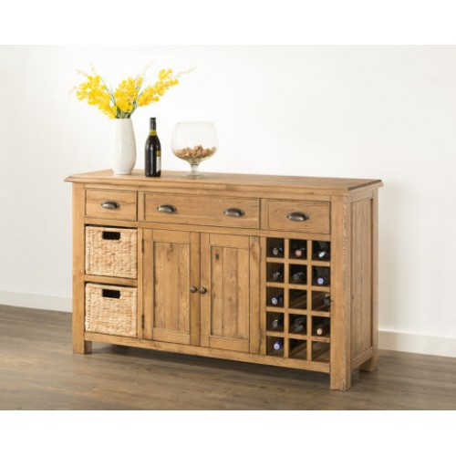 new product d5ae3 9fe83 Hartley Solid Oak Sideboard with Wine Rack and Baskets